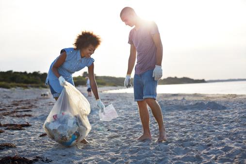 Couple Picking Up Trash